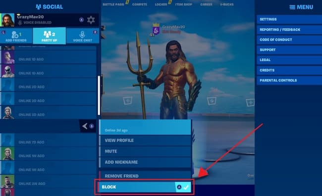 how to block someone on fortnite game