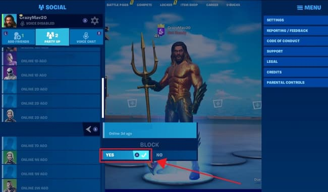 how to block people on fortnite