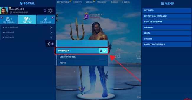 how to unblock someone on fortnite game