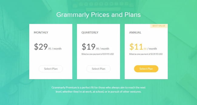 grammarly free and premium versions price