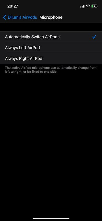 airpods pro microphone settings