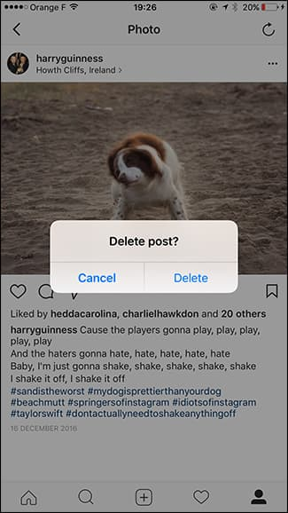 how to remove pictures from instagram