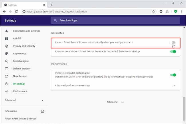 stop avast browser opening on startup